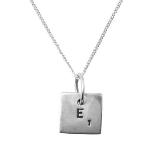 Silver Word Tile Necklace